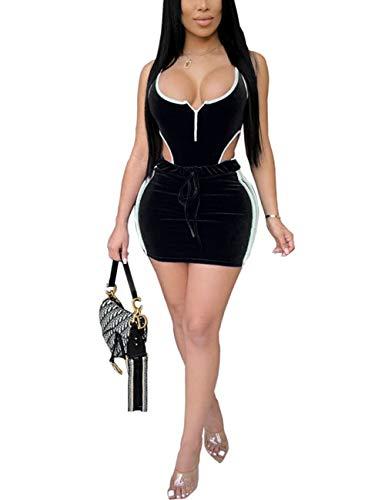 Damen 2-teiliges Samt-Outfits, ärmellos, Bodysuit, Top, figurbetont, Minirock-Set - Schwarz - XX-Large