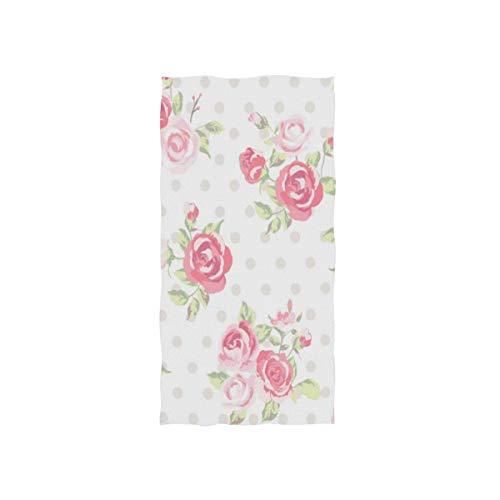 LREFON Toallas Estampado Floral Retro Vintage Rosa Flor en Lunares para la Ducha,Toallas de baño,Deportes al Aire Libre