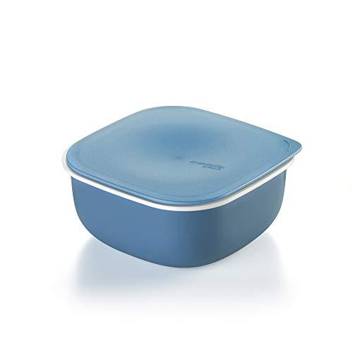Guzzini Re-Generation, Contenitore Quadrato con Coperchio in Materiale Plastico Riciclato, 16.7x16.7X h 7.6 cm, Made in Italy-Azzurro Polvere, 1 Litro