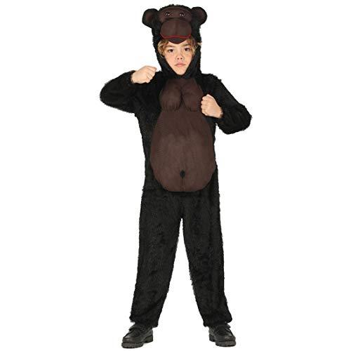 NET TOYS Lustiges Gorilla-Kostüm für Kinder - Schwarz-Braun 7 - 9 Jahre, 127 - 132 cm - Tierische Party-Verkleidung Tierkostüm AFFE - Bestens geeignet für Kinder-Karneval & Mottoparty