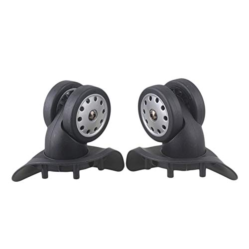 XIAOFANG 9x12x6cm Black Plastic Left&Right Luggage Universal Wheels Replacement W/ 14 Screws Pack Of 2