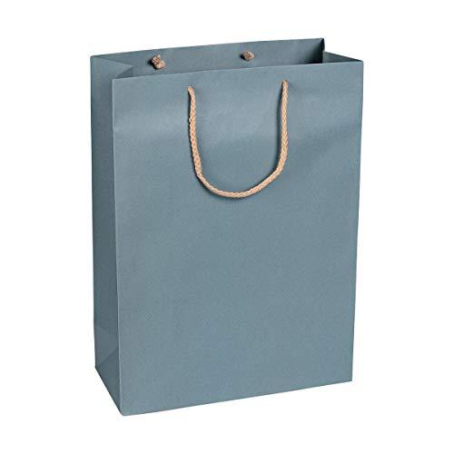 Papiertragetasche Blau, 27 x 37 x 12 cm, mit Baumwollhenkel Papiertasche, Geschenktüte Kraftpapier - 12 Stück/Pack
