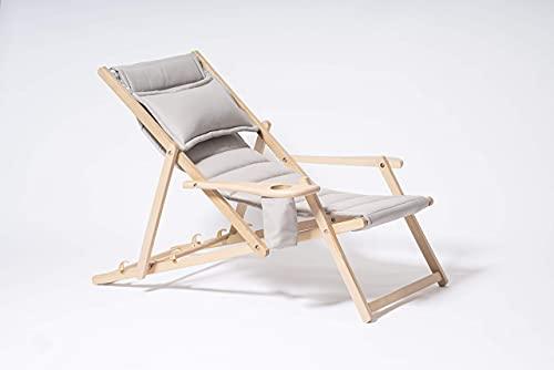 MyDeer Holz Liegestuhl klappbar, Lounge Sessel mit Kissen, Sonnenliege für Garten, Balkon, Camping, Klappstuhl mit Armlehne & Getränkehalter, Modern Gartenstuhl, Relaxliege, Grau Stuhl
