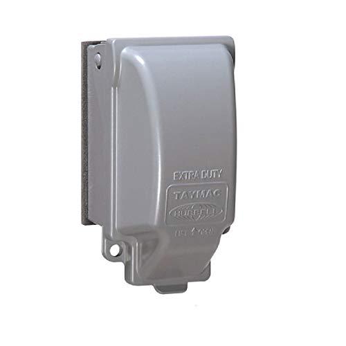 TayMac MX3200 Single Metal Weatherproof 1-Gang Vertical 8-in-1 Cover, 3.125 in, Gray