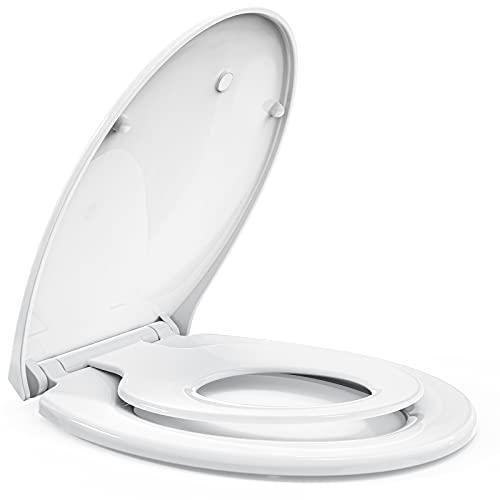 STOREMIC Toilettendeckel mit Absenkautomatik,Klodeckel mit Magnetisch zu befestigenden Toilettensitz Kinder,Quick Release Funktion,WC Sitz mit verstellbaren Scharnieren,O Form Weiß, Kunststoffversion