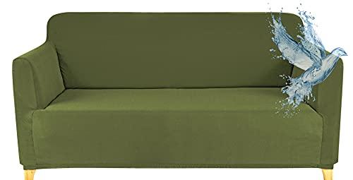 Funda Sofa 2 Plazas Impermeable Fundas para Sofa Elasticas Funda de Sofa Ajustables Antideslizante Protector Fundas Sofa, Verde