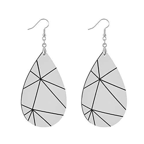 Pendientes de madera de moda gota colgantes ligeros lágrima pendientes forma gota pendiente para las mujeres joyería Zara mono geométrico blanco negro