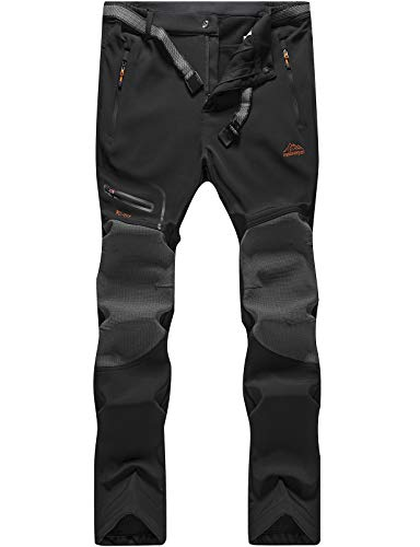DAFENP Pantalones Trekking Hombre Impermeable Pantalones de Escalada Senderismo Alpinismo Invierno Polar Forrado Aire Libre KZ1662M-Black2-M