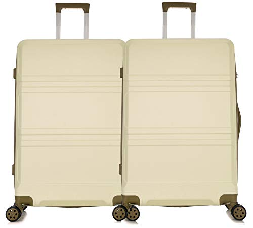Starlite Luggage Medium + Cabin 24' and 20' ABS2010 Hard Shell Suitcase 4 Wheel Spinner (24' + 20', Cream)