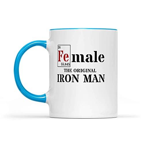 N\A FE (Macho) Accent 11oz Tazas Mujer - La Taza de café Original de Iron Man Azul Claro Acento de cerámica - Fuerte Mujer de la Idea del Regalo Taza de café