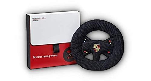 Porsche Stricklenkrad mit Rassel Schwarz Motorsport für Kinder zum Spielen | Hier Plus Extra Schlüsselring Mit Schraubverschluss | Set