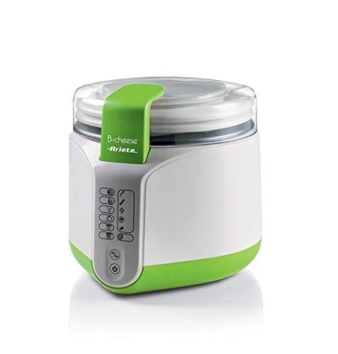 Ariete 615 - Máquina para hacer queso y yogur, 2 litros, 6 programas, 1 cestillo para queso, 1 cestillo para yogur, filtro para yogur griego, accesorios apilables, recetario, color blanco y verde
