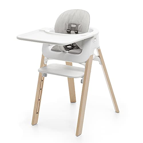 Stokke Steps Complete - Natural Legs, White Seat & Grey Cushion - 5-in-1 Seat System - Includes Baby Set, Tray & Cushion - For Babies 6-36 Months - Chair Holds Up to 187 lbs - Tool Free & Adjustable