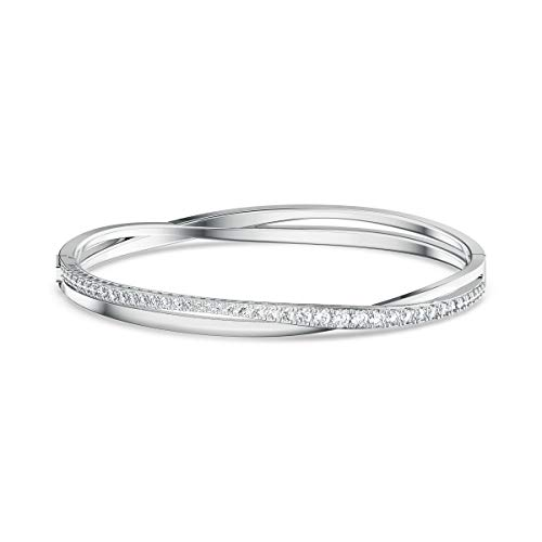 SWAROVSKI Twist Rows Bracelet, White, Rhodium Plated, Medium (5565210)
