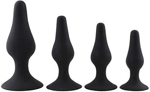 Enchufe de silicona Àn-âl B-û-tt a prueba de agua, Equipo de entrenamiento de silicona for principiantes for hombres, 4 piezas, 4 piezas (Color, BLACK),Black