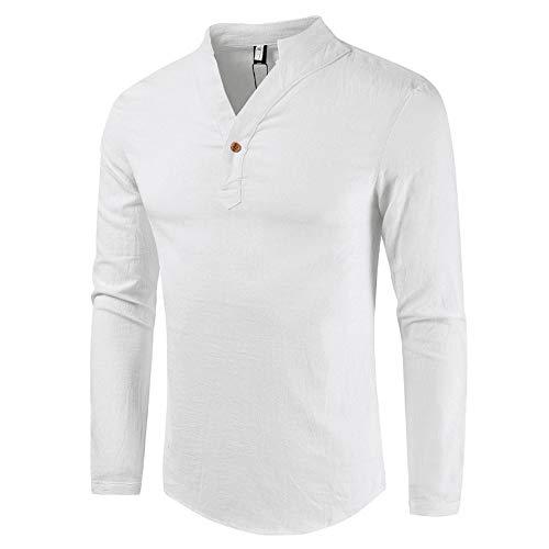 ZYUD Herren Leinenhemd Hemd T-Shirt Stehkragen Baumwolle Männer Freizeithemd...