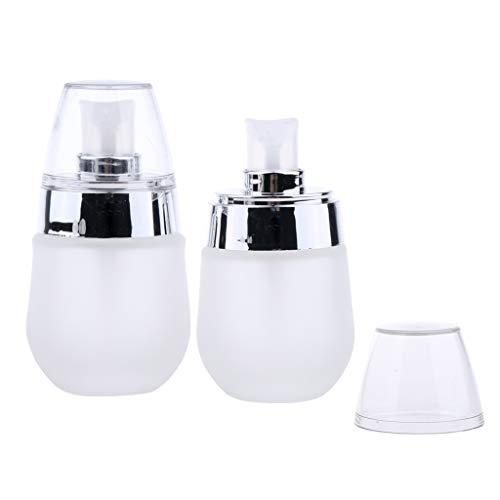 Bonarty 2pcs Mini Maquillage Cosmétique Verre Givré Pompe Pompe Vide Lotion Vaporisateur 30ml - Pompe à ruban