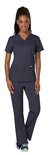 Cherokee Workwear Revolution Women's Medical Uniforms Scrubs Set Bundle - WW620 V-Neck Scrub Top & WW110 Elastic Waist Scrub Pants (Pewter - Small - Small)