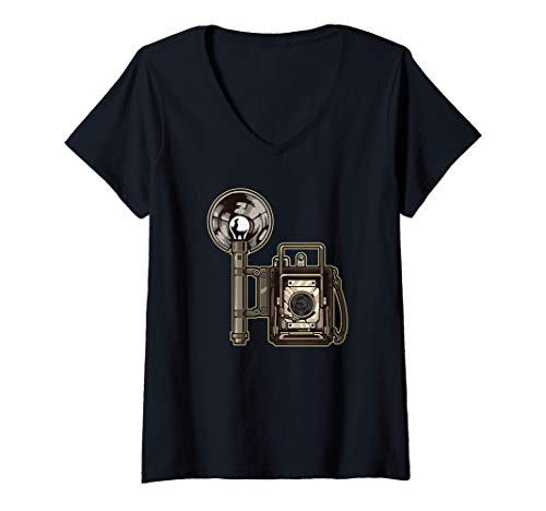 Donna Macchina fotografica analogica retrò con flash - fotografia Maglietta con Collo a V