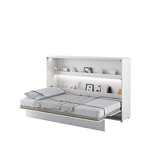 Cama plegable Bed Concept horizontal, 120 x 200 cm, color blanco lacado
