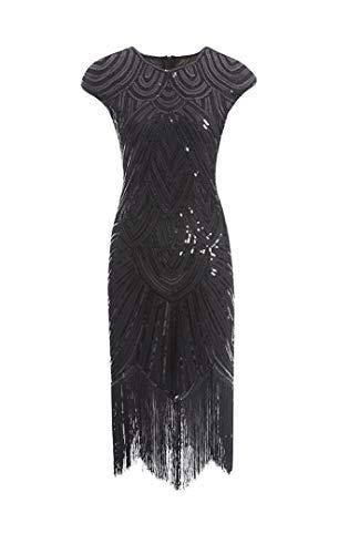shoperama 20er Jahre Charleston Kleid Pailletten Fransen Flapper Gatsby 20's Fransenkleid Damen-Kostüm, Größe:L, Farbe:Schwarz/Schwarz