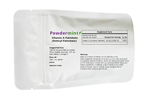 Vitamin A Palmitate Powder (Retinyl Palmitate) 15000 IU by powdermint, Non-GMO, Vegan, Wrinkle Reduction, Skin Health (25 Grams)