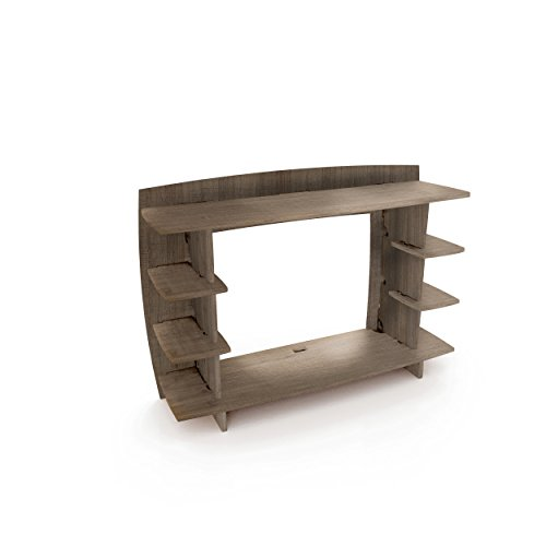 Legaré Furniture Office Desk Hutch Extension, Home Computer Desk Bridge, No Tool Assembly, Grey Driftwood