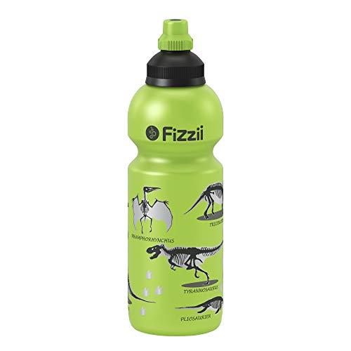 Fizzii Kinder- und Freizeittrinkflasche 600 ml (auslaufsicher bei Kohlensäure, schadstofffrei, spülmaschinenfest, Motiv: Dino Lime)