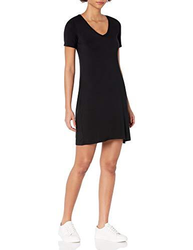 Amazon Brand - Daily Ritual Women's Jersey Short-Sleeve V-Neck T-Shirt Dress, Black, Small
