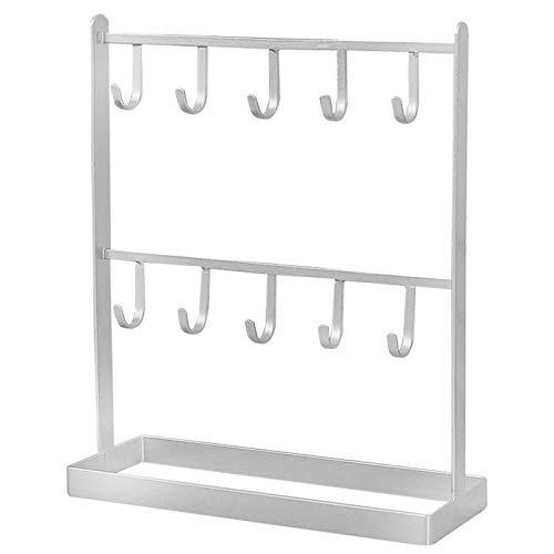 XKMY Soporte para exhibición de mesa de hierro para joyas, pendientes, collares, pendientes, pendientes, estante para exhibición del porche (color: blanco)