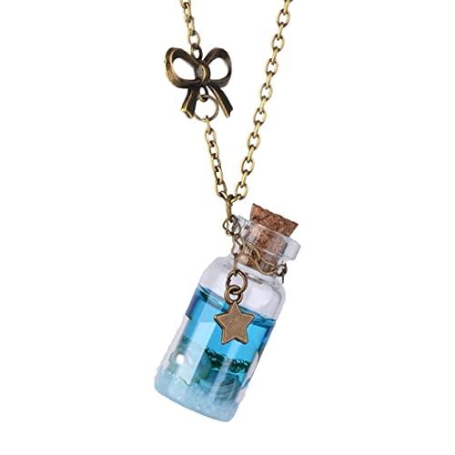 dodouna Vintage Antiguo Oro Lágrimas Conchas Estrella Barco Deseando Botella Collar Azul Océano Mar Botella De Vidrio para Mujeres Hombres Joyería