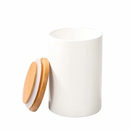 77L Vorratsdose, 430 ML (14.52 OZ), Keramik Vorratsdose mit luftdichtem Verschluss Bambusdeckel - Modernes Design Weißer Vorratsbehälter aus Keramik zum Servieren von Tee, Kaffee, Gewürz und mehr