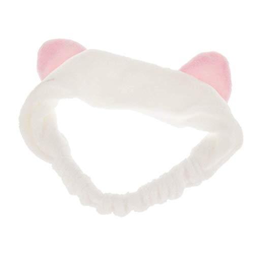 Haobase 1 fascia per capelli con orecchie di gatto per lavare il viso o trucco (bianco)