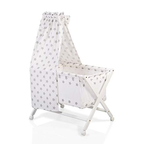 Berceau, lit bébé en barreaux avec baldaquin,set de linge et matelas CASSY Beige