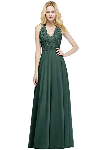 Misshow Damen Kleider V-Ausschnitt Ärmellos Elegant A Linie Abendmode Lang Abendkleid, Grün, 36