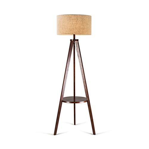 Floor lamp Led Floor Lamp Nordic Wireless USB Charging Port Floor Light With Storage Shelf Vertical Floor Lamps Bedroom Living Room Floor Light (Color : Wood color)
