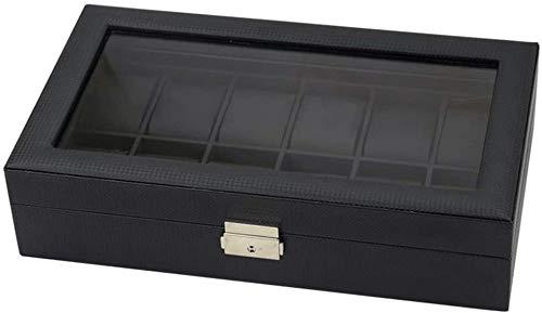 Caja de Relojes Caja de reloj de joyería Caja de almacenamiento de carbono Pu cuero de 12 bits Caja de reloj de pulsera de la joyería caja de almacenamiento de visualización for los regalos a la famil