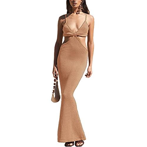 Antopmen Women Spaghetti Straps Knitted Maxi Dresses Elegant Sexy Party Cut Out Backless Bodycon Slim Dress(Small, Khaki