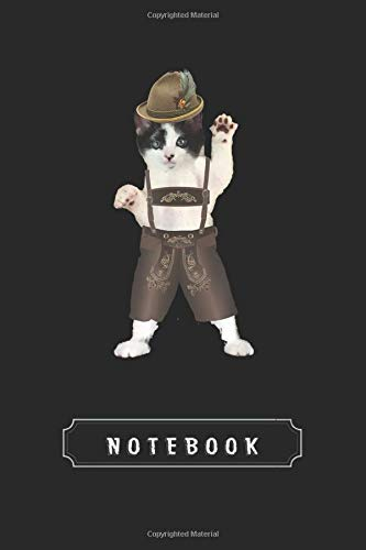 Notebook: Cat Wearing Lederhosen For Oktoberfest Cool Cover Design Notebook and Journal Cool Gift for Friend Composition or With Lined Rule | Size 6X 9 | for Taking Note and Journal