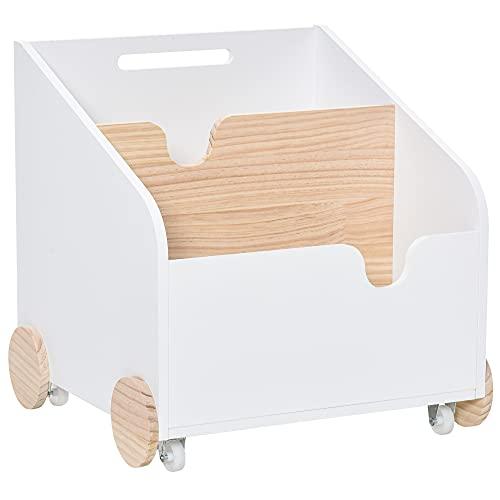 HOMCOM Caja de Almacenamiento de Juguetes de 2 Secciones con Ruedas Asa Carrito de Madera Infantil para Habitación de Niños 40x43x43 cm Blanco y Madera Natural