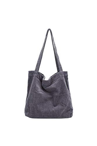 Ulisty Damen Grosse Kapazität Cord Schultertasche Retro Handtasche Mode Einkaufstasche Tägliche Tasche grau