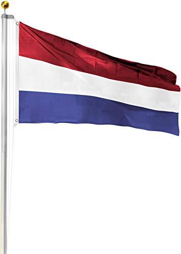 normani Aluminium Fahnenmast 6,20 6,80 oder 7,50 Meter Höhe inkl. Deutschlandfahne mit Adler oder Österreich 90x150 Farbe Niederlande Größe 6.5 Meter