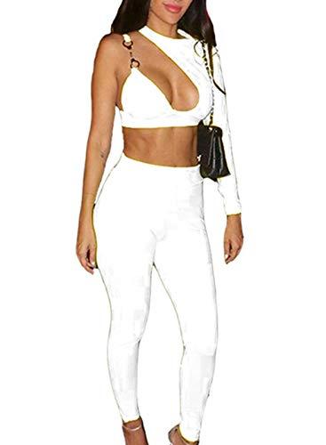 CORAFRITZ Mujer Sexy Color Sólido 2 Piezas Clubwear Cuello Halter Un Hombro Top Crop Top de Cintura Alta Slim Fit Pantalones Largos Traje de Moda para Mujer Lounge Wear Sets