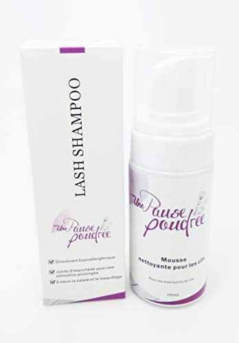 Shampoing cils grand format 100 ml pour Boite Extensions de Cil à Cil Faux Cils ou Bouquet Marque Française Une Pause Poudree