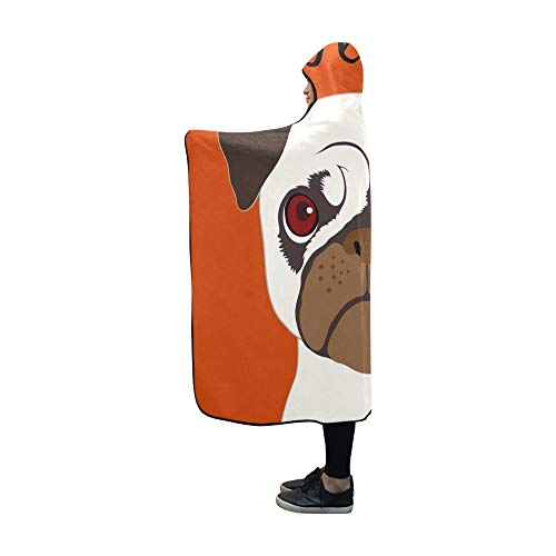 YXUAOQ Mit Kapuze Decke Mops Buddy Hund Decke 60 x 50 Zoll Comfotable Hooded Throw Wrap