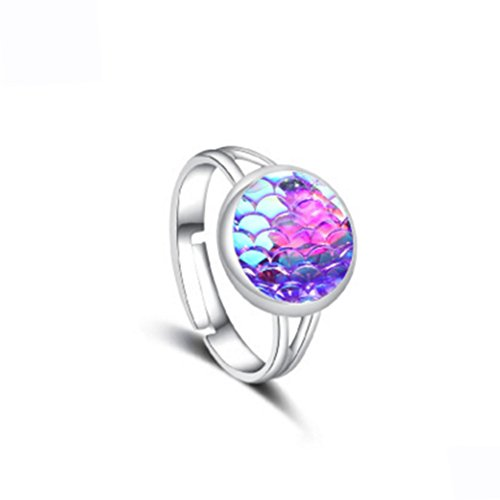 Nikgic Fashion Elegante Shiny Deep Purple Sirena Escalas Mode Anillo Fácil Diario Mujeres Accesorios