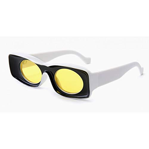 IJEWALRY Gafas De Sol De Mujer,Gafas De Sol Rectangulares Vintage para Mujer Gafas De Sol Femeninas Coloridas para Accesorios De Decoración De Fiesta Amarillo Azul Rosa Negro Amarillo Blanco