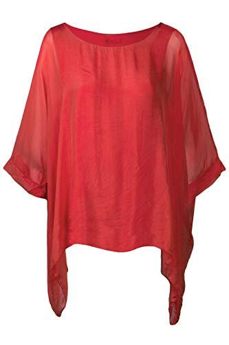 Cara Mia Seidentunika für Damen Made in Italy lang Fledermaus-Ärmel Rot 38 40 42 44