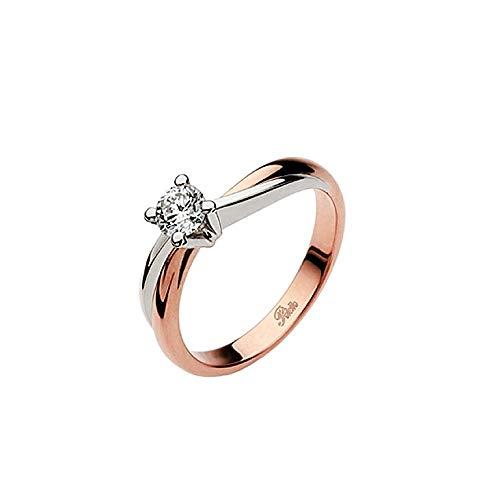 Anello Solitario In Oro Rosa E Platino Con Diamante 0.30 Ct Da Donna Polello, 14