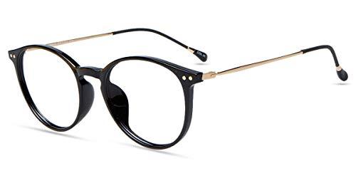 Firmoo Anti Blaulicht Computer Brille, Blaulichtfilter Brille ohne Sehstärke für Damen Herren, Retro Pantobrille Blaulichtblockierend Blendfrei Kratzfest Anti Augenmüdigkeit Blaulicht Gläser (Schwarz)